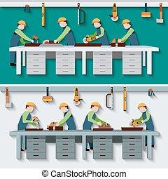 Carpentry Workshop Illustration