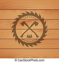 Carpentry workshop logo label
