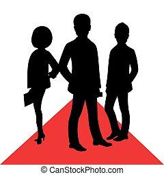 carpet., árnykép, ügy emberek, híres ember, vektor, feltevő, női, hím, piros