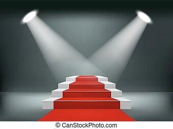 carpet., 赤い背景, vector., ショールーム
