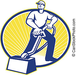 Illustration of a carpent cleaner worker vacuuming with vacuum cleaner carpet cleaning machine viewed from low angle done in retro style.