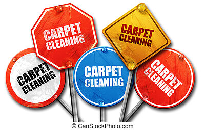 carpet cleaning, 3D rendering, street signs
