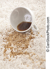 carpet cleaning - A glass of spilled coffee on brand new...