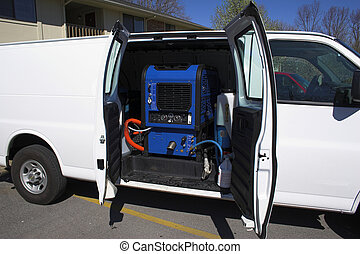 New carpet cleaning van, ready to start work at apartment complex