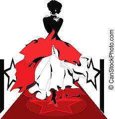 carpet., femme, silhouette, isabelle, série, rouges