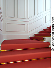 carpet., lépcsőház, klasszikus, piros