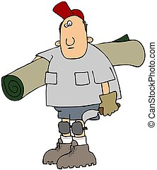 Carpet Layer - This illustration depicts a man carrying a...