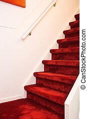 carpet., modern, treppenaufgang, innen, marmor, rotes
