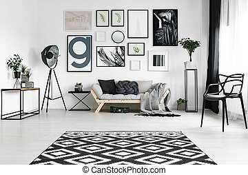 Carpet on the floor - Black and white carpet lying on the ...