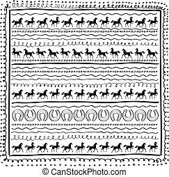 Carpet print with horseshoes and horse.