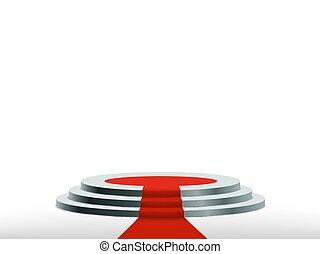 carpet., récompense, podium, fond, rond, rouges, ceremony.
