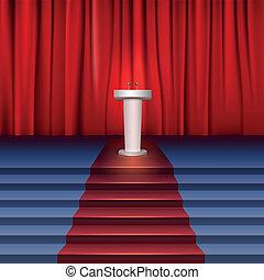 carpet., rendimientos, escena, tribune, cortina, cubierto, lugar, escaleras, rojo