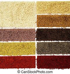 Carpet sampler - Palette of carpet material patterns for...