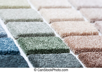 Carpet samples in many shades and colors