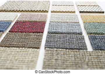 Perspective close up of carpet samples, selective focus