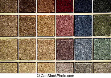 Samples of carpet patches in various colors