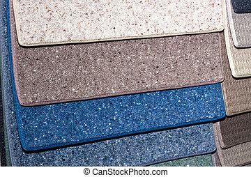 Carpet samples - Colorful samples of carpet covering.