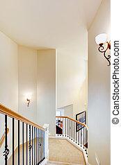 carpet., scala, railings, metallo, grande, beige
