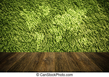 Carpet texture surface vintage style with Wood terrace and world map