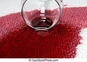 carpet., wino, spilt
