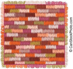 Carpet with colorful grunge striped geometric pattern and fringe
