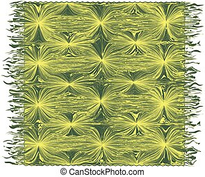 Carpet with decorative grunge wavy pattern and fringe in yellow, green colors isolated on white