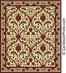 Carpet with pomegranate. - Colorful template for carpet,...