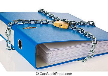 carpeta, archivo, cadena, cerrado