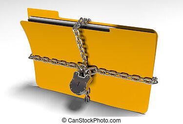 carpeta, con, cadena, y, candado, escondido, datos, seguridad, 3d, render