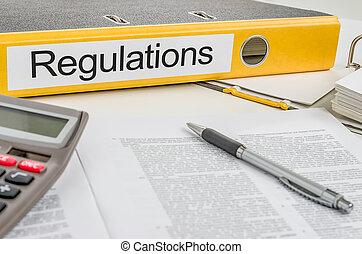 carpeta, con, el, etiqueta, regulaciones