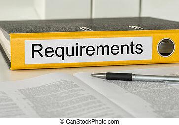 carpeta, con, el, etiqueta, requisitos