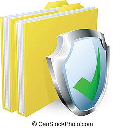 carpeta, concepto, documento, protegido
