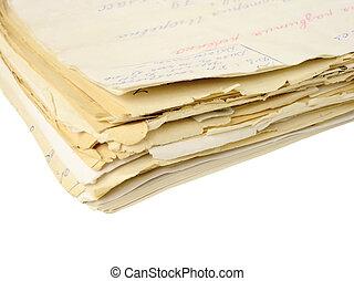 carpeta, documentos, aislado
