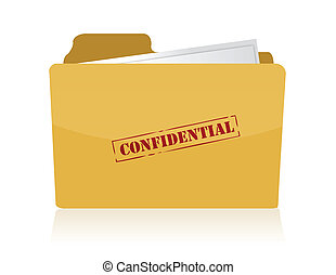carpeta, estampado, confidencial