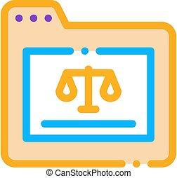 carpeta, ley, juicio, tribunal, vector, icono, ilustración
