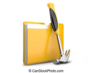 carpeta, martillo, amarillo