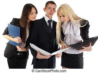 Carpeta, mirada, empresa / negocio, equipo