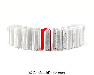 carpeta roja, consecutivo, aislado, blanco