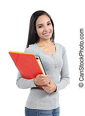 carpetas, árabe, posar, adolescente, estudiante, niña