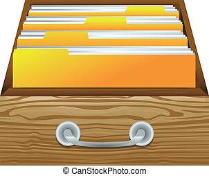 carpetas, archivos, -, cajón, catálogo, vector