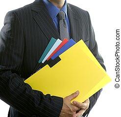 carpetas, color, encima, blanco, hombre de negocios