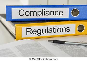 carpetas, con, el, etiqueta, conformidad, y, regulaciones