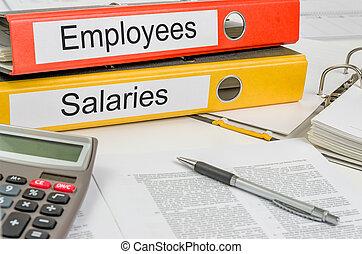 carpetas, con, el, etiqueta, empleados, y, salaries