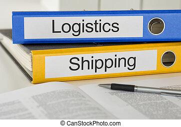 carpetas, con, el, etiqueta, logística, y, envío