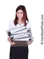 carpetas, corporación mercantil de mujer, documentos, tenencia, pila