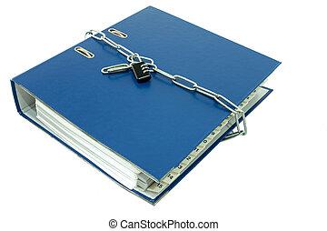 carpetas de fichero, cerrar con llave, con, llave, chain.