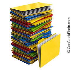 carpetas, documentos, pila, multicolor