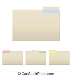 carpetas, manilla, imagen, aislado, fondo., vario, blanco
