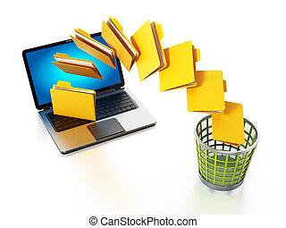carpetas, mudanza, de, el, computadora del cuaderno, a, basura, bin., 3d, ilustración