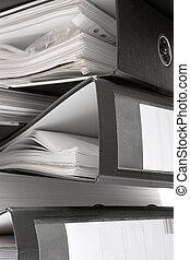 carpetas, negro, pila, archivo